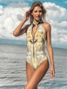 eniqua POLY LEO OLIVE ZIPSUIT   unique bikini on beach