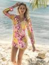 eniqua SUMMER BLOOM LONG ARM TUNIC   exclusive bikini on beach