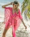 eniqua PINK FLOWER NET KAFTANS   exclusive pink kaftan picture on beach