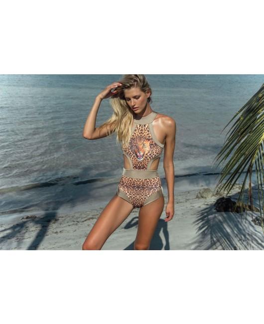 eniqua ROAR LEO TOFFEE BAND SUIT   designer bikini on beach
