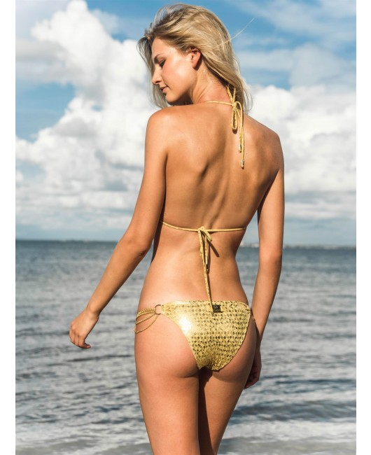 eniqua GOLDEN SNAKE  TRIANGLE   glamorous bikini on beach