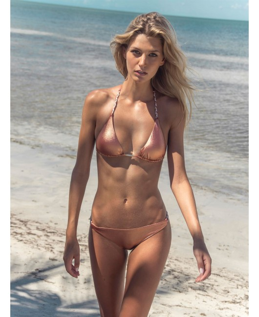 eniqua COPPER TAN TRIANGLE   designer bikini on beach