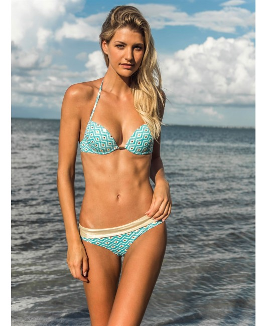 eniqua MIDNIGHT EYES BLUE PUSH UP   luxurious bikini on beach