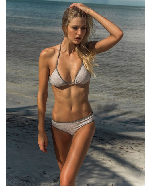 eniqua PURE ROUGH SILVER TRIANGLE   exclusive bikini on beach