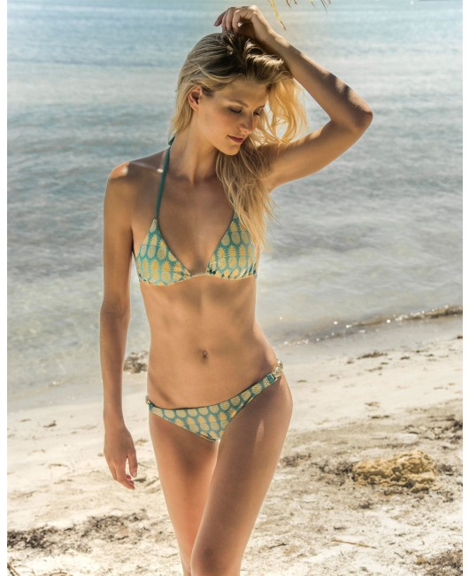 eniqua GOLDEN PINEAPPLE TRIANGLE designer pinapple bikini on beach