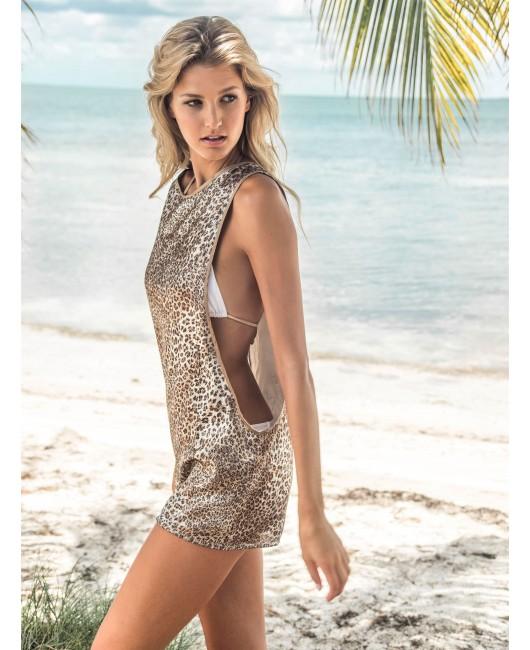 eniqua GLITTER LEO TANK DRESS  on beach