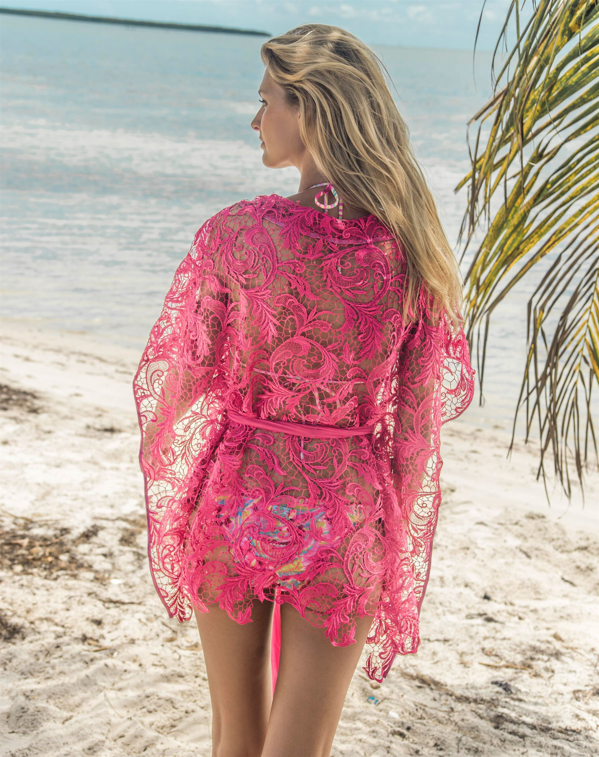 eniqua cover up beach dress pink flower net s. Black Bedroom Furniture Sets. Home Design Ideas